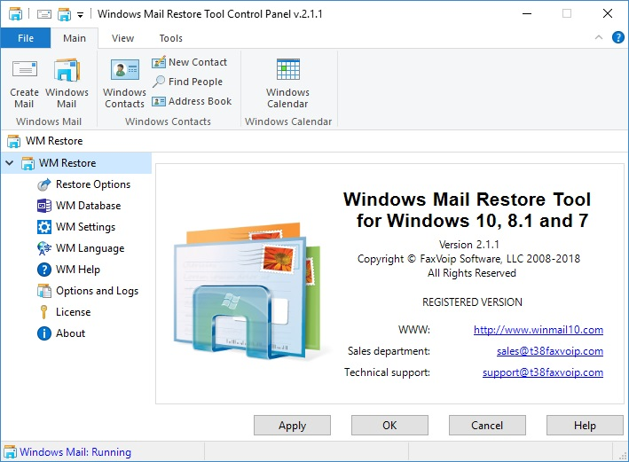 WM Restore Tool v 2 1 1 - Windows Mail for Windows 10, 8 1 and 7