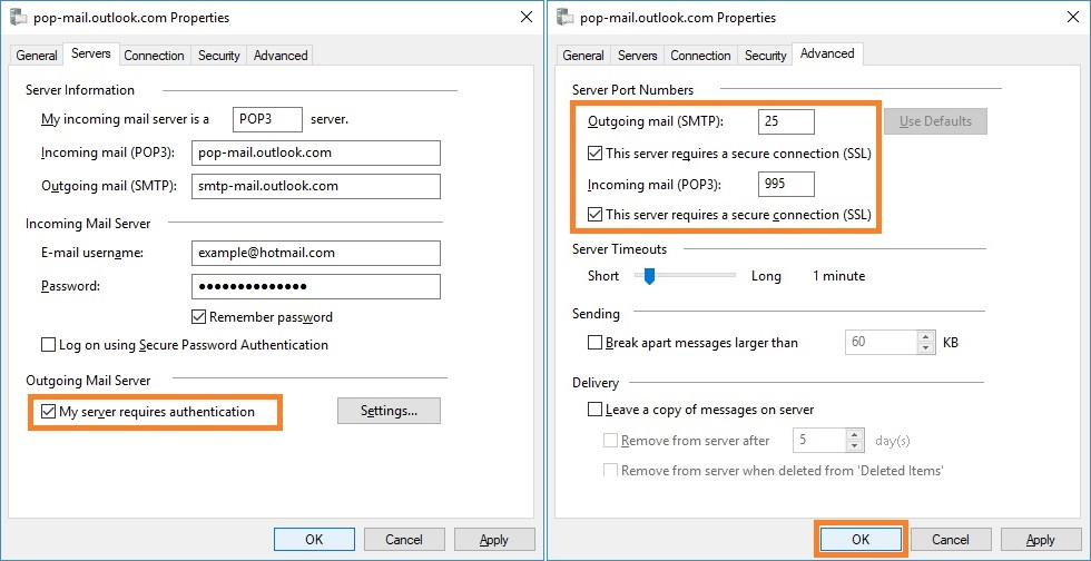 Configure with Hotmail (POP)