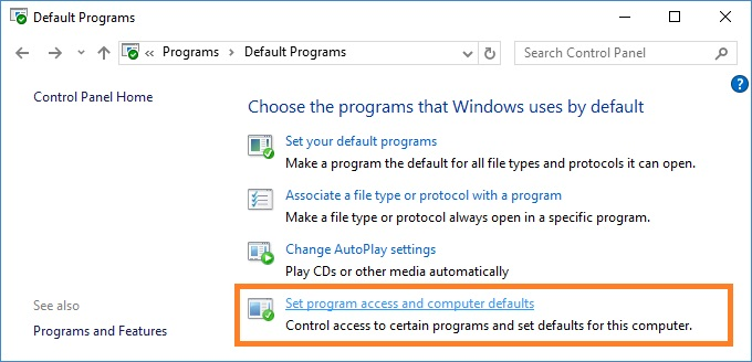 Set program access and computer defaults