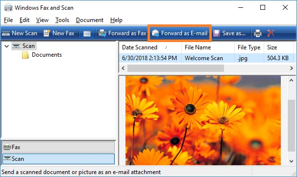 Send a document using WordPad