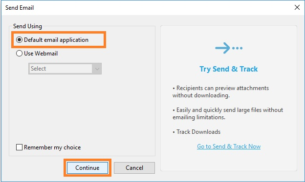 Select Default email application